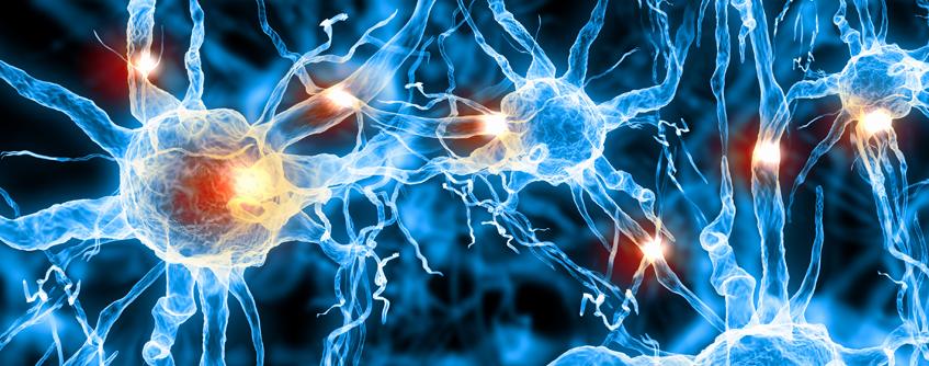 Ilustração renderizada de células nervosas